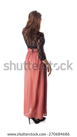 happy young woman full body standing - stock photo