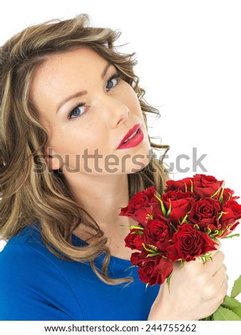 Happy Young Woman Holding a Bunch of Red Roses