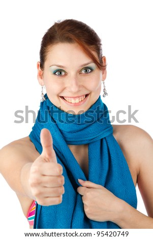 Happy young woman in blue scarf