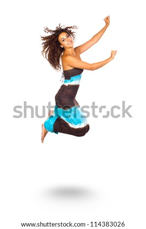 Happy Young Woman Jumping and Smiling over White Background