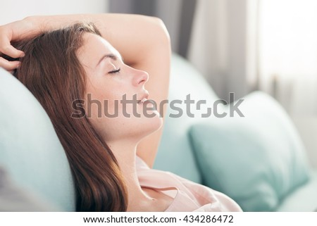 Relax Home Portrait Young Very Beautiful Stock Photo 568363585