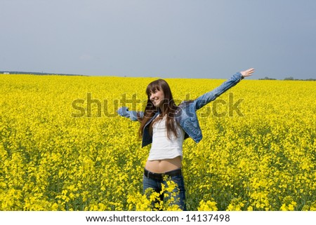 Happy young woman outdoor . - stock photo