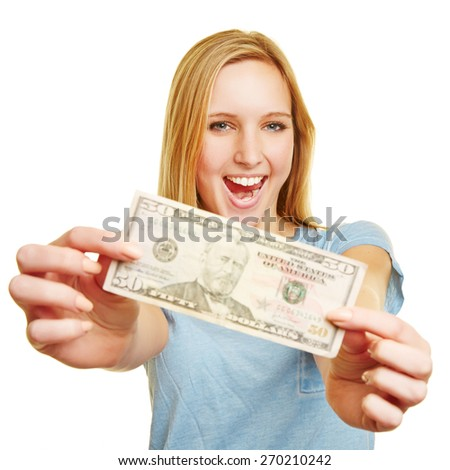 Happy young woman showing 50 dollar bill in her hands