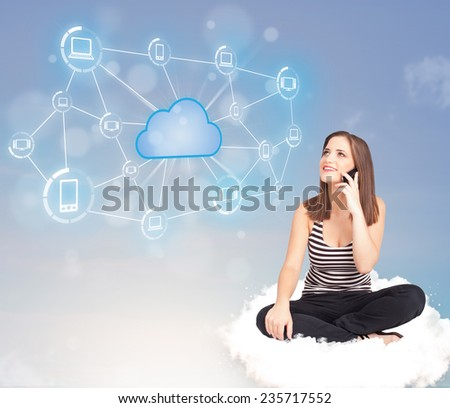 Happy young woman sitting on cloud with cloud computing - stock photo