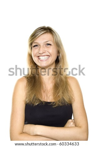 Happy young woman smiling headshot with friendly look. Isolated on white background - stock photo