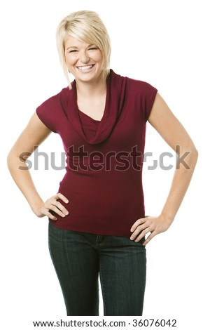 Happy young woman smiling over white background - stock photo