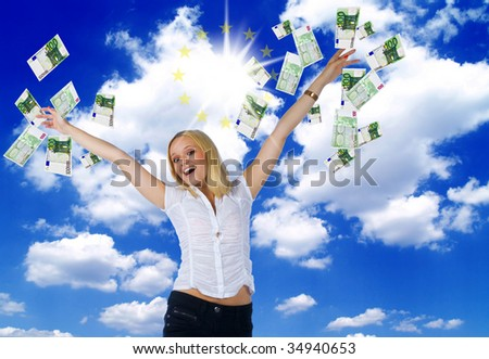 happy young woman trowing lot of euros in the air celebrating - stock photo