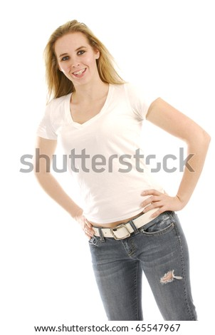 happy young woman wearing braces on white background - stock photo