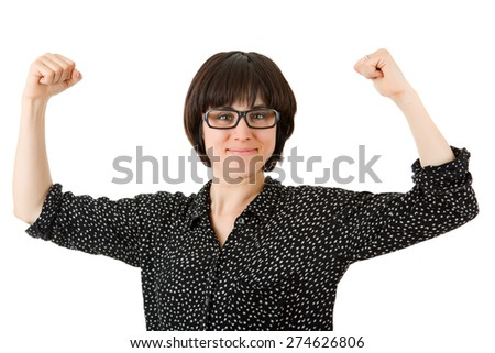 happy young woman winning, isolated on white - stock photo