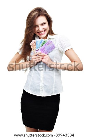 Happy young woman with cash - stock photo