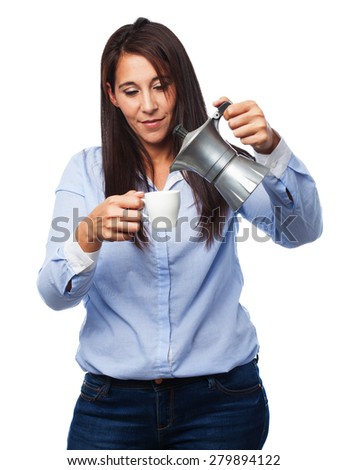 happy young woman with coffee - stock photo