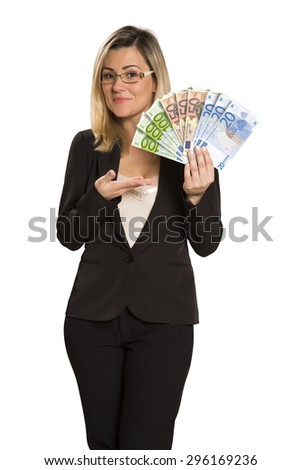 Happy young woman with euro money. Saving account concept.