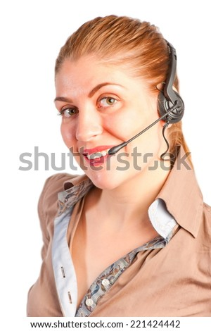 happy young woman with headset on white background - stock photo