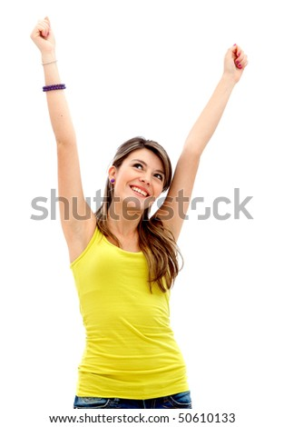 Happy young woman with her arms up isolated over a white background - stock photo