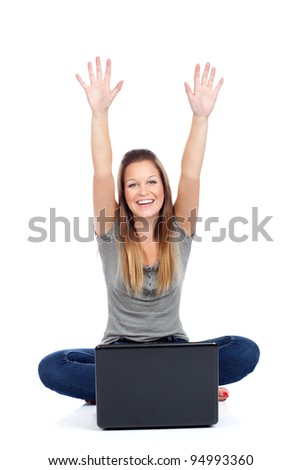 Happy young woman with laptop, isolated on white