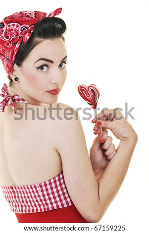 happy young woman with lollipo candy isolated on white
