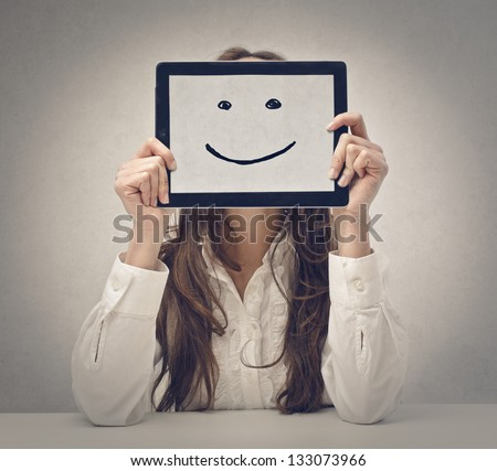 happy young woman with tablet - stock photo