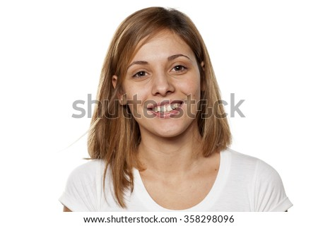 happy young woman without make-up - stock photo