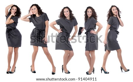 Happy young women in grey dress