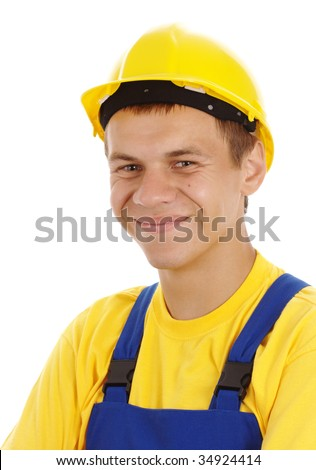Happy young worker wearing hard hat and blue-and-yellow uniform, isolated over white - stock photo