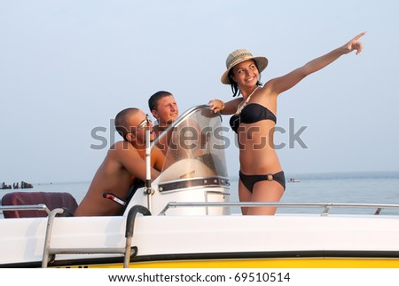 Happy youth having a rest on a vacation - stock photo