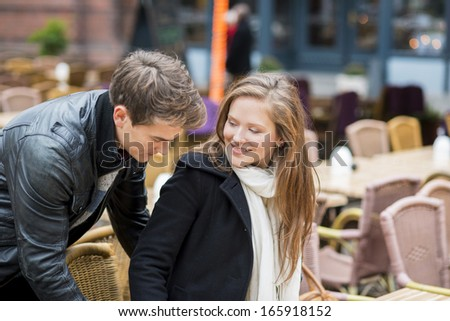Hapy couple is having date in the street of city