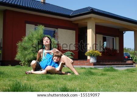 Hapy family - stock photo