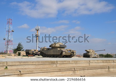 HarAdar (Radar Hill) Monument dedicated to the memory of the soldiers of the Palmach's Harel Brigade who fell during the battles for the opening of the road to Jerusalem during the War of Independence - stock photo