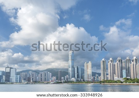 Harbor and modern building in Hong Kong City - stock photo