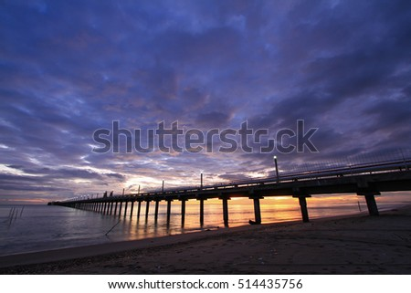 Harbor and Sea view on morning time before sunrise with silhouette