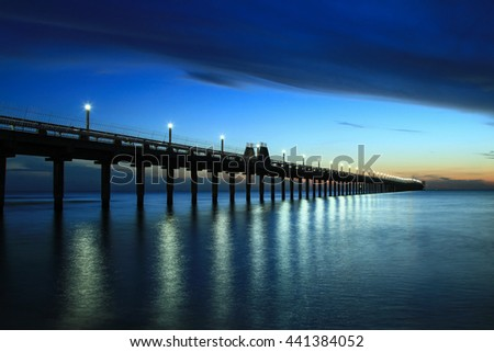 Colorful sky sea reflected morning time stock photo for Seaview fishing pier