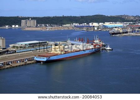 harbor and ship - stock photo