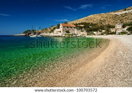 Harbor at Adriatic sea. Hvar island, Croatia, popular touristic destination. - stock photo