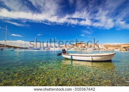 Harbor at Adriatic sea. Primosten Old Town, Croatia, popular touristic destination - stock photo