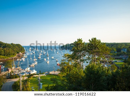 Harbor at Rockport, Maine seen from a high angle - stock photo