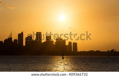 Harbor at sunset,Sydney Australia - stock photo