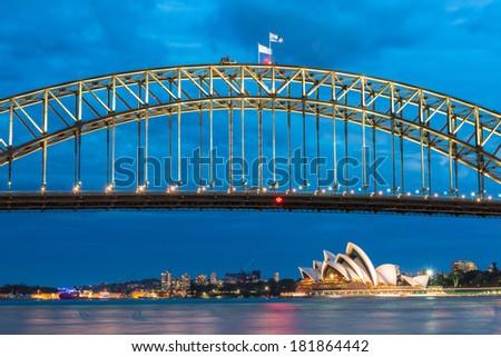 Harbor Bridge, Sydney Harbor - stock photo