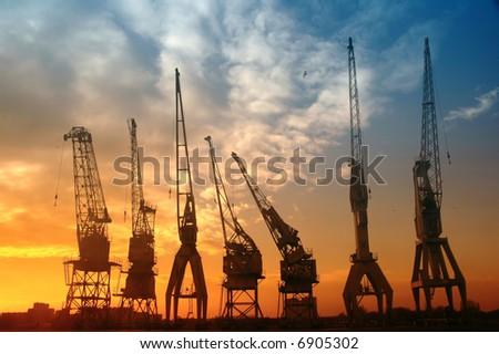 Harbor cranes - stock photo