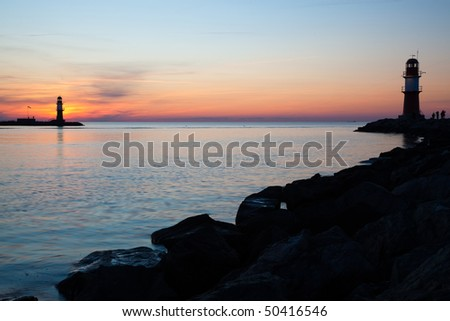 Harbor entrance in Warnem�¼nde