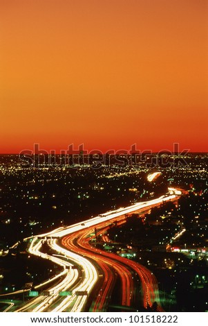 Harbor Freeway at night, Los Angeles, California - stock photo