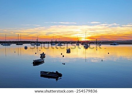 Harbor from Alvor in Portugal at twilight - stock photo