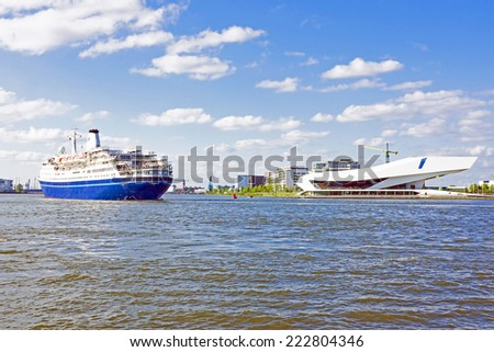 Harbor from Amsterdam in the Netherlands - stock photo
