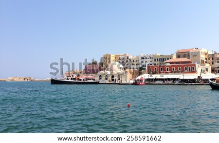 Harbor in Greece. White-blue Santorini - view of caldera with domes. - stock photo