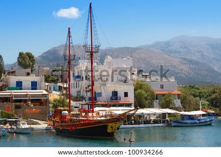 Harbor in Sissi. Crete, Greece - stock photo