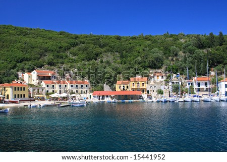 Harbor of Fiskardo on the Ionian island of Lefkas Greece