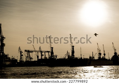 Harbor of Hamburg in Germany, Europe - stock photo
