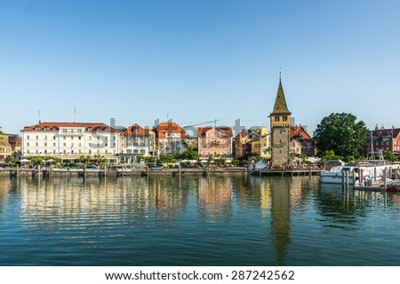 Harbor of Lindau island, Lake Constance, Bavaria, Germany