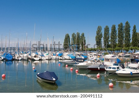 Harbor of Unteruhldingen at Lake Constance, Germany
