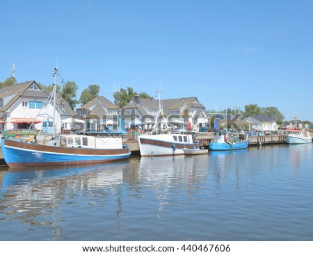 Harbor of Vitte on Hiddensee Island near Ruegen Island at Baltic Sea,Mecklenburg western Pomerania,Germany - stock photo