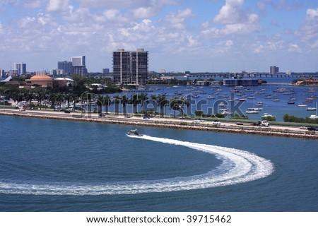 Harbor Patrol cruising the harbor - stock photo